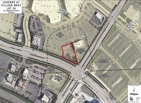 The location of a proposed new building at The Legends for Noodles and Company and two other tenants is shown in a UG planning document.