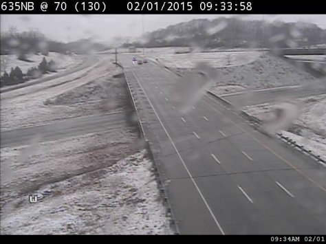 Traffic conditions are shown at I-70 and I-635 in Kansas City, Kan., on Sunday morning. (KC Scout photo)