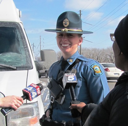 Kansas Highway Patrol Officer Tiffany Bush said load security is very important to safety. (Staff photo by Mary Rupert)
