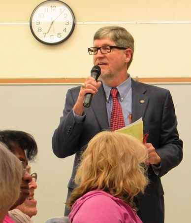 Mark Gilstrap, a candidate for Unified Government Commission, 1st District at large, emphasized his experience and told the audience at the Leavenworth Road Association meeting Tuesday night that he had not voted for tax increases. (Staff photo by Mary Rupert)