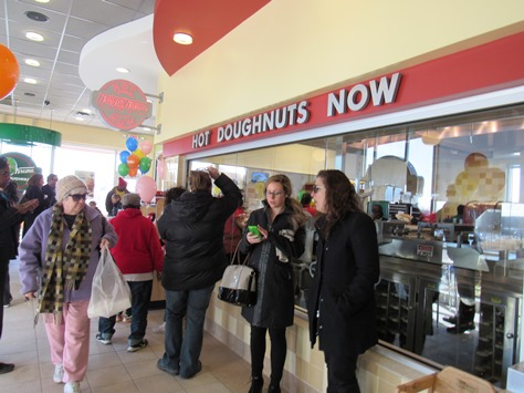 Inside the new Krispy Kreme store at Wyandotte Plaza, 78th and State Avenue. (Staff photo by Mary Rupert)