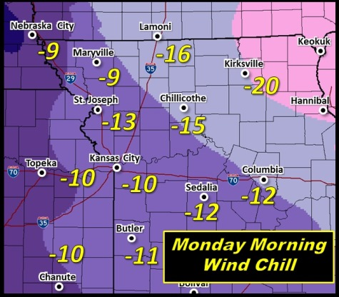 Predicted wind chills for Monday. (National Weather Service graphic)