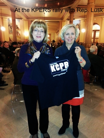 Rep. Nancy Lusk and Sen. Pat Pettey at the KPERS rally Feb. 4 at the Capitol.