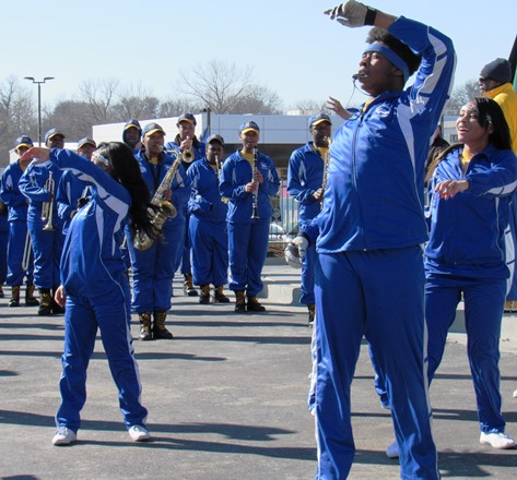 The Schlagle High School marching band and dancers performed today at the grand opening for the Krispy Kreme store at Wyandotte Plaza, 78th and State Avenue, Kansas City, Kan. (Staff photo by Mary Rupert)
