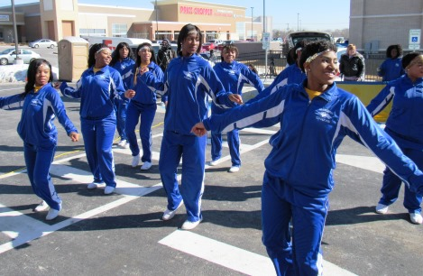 Schlagle students performed today for the opening of the Krispy Kreme store at Wyandotte Plaza, 78th and State, Kansas City, Kan. (Staff photo by Mary Rupert)