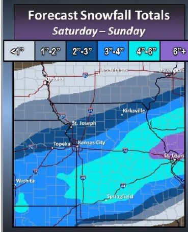 This graphic from the National Weather Service shows predicted snow totals for Saturday and Sunday. The forecast was made at 4:49 a.m. Saturday. (National Weather Service graphic)