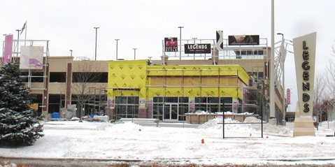 A Verizon Wireless commercial building at 10621 Parallel Parkway is currently under construction east of the parking garage at The Legends Outlets in Kansas City, Kan.