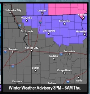 Wyandotte County is not in the winter weather advisory area. (National Weather Service graphic)
