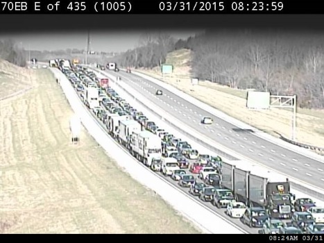 Traffic was slow on I-70 east of I-435 this morning because of an accident. (KC Scout photo)