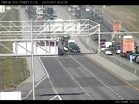An accident was reported on I-70 east near 78th Street exit in Kansas City, Kan., according to KC Scout. (KC Scout photo)