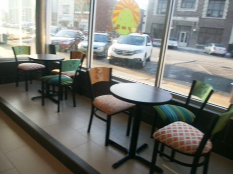 The new Cup on the Hill coffee shop includes seating for patrons. (Photo by William Crum)