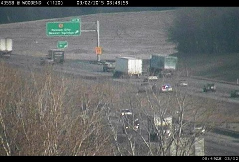 A n accident was reported Monday morning on I-435 northbound at K-32, according to KC Scout. (KC Scout photo)