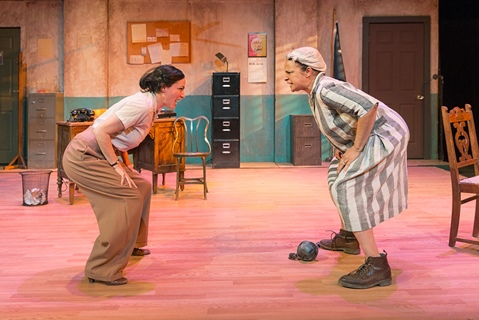 """Nedra Dixon, right, plays Pearl Johnson and Vanessa Severo, left, plays Susanna Mullally in """"Black Pearl Sings,"""" being performed at the Just Off Broadway Theater in Kansas City, Mo. (Photo by Jeff Rumans)"""