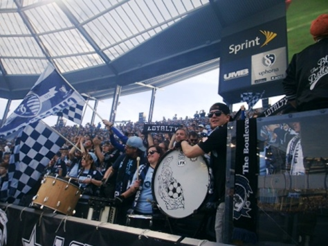 Fans showed their support on Sunday at the season opener for Sporting Kansas City, held in Kansas City, Kan. Sporting KC played to a 1-1 draw with the New York Red Bulls. (Photo by William Crum)