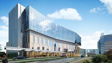 KU Hospital broke ground on the new Cambridge North tower today in Kansas City, Kan. (Architect's rendering)