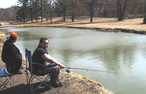 Tou Vang, Kansas City, Kan., was catching trout at opening day of fishing at Wyandotte County Lake. (Staff photo)