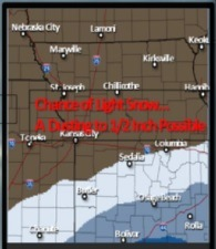 An area south of the Kansas City area may receive some light snow on Tuesday night. (National Weather Service graphic)