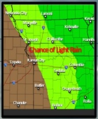 There is a chance of light rain on Tuesday east of Wyandotte County, according to the National Weather Service. (National Weather Service graphic)
