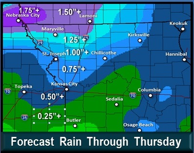 Rain in the forecast through Thursday. (National Weather Service graphic)