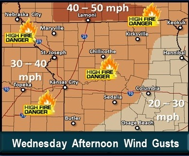 Wednesday afternoon wind gusts. (National Weather Service graphic)