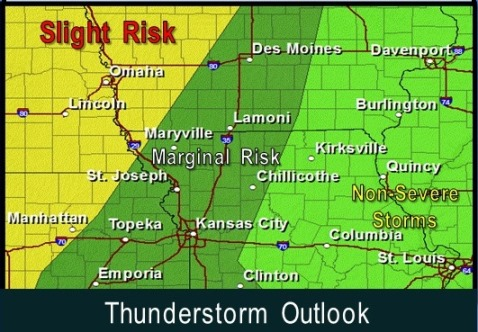 Thunderstorm outlook. (National Weather Service graphic)