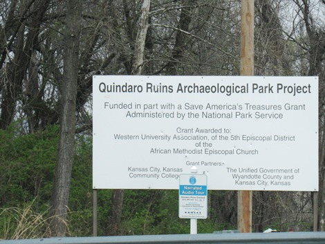 A sign showed the details of the Quindaro Ruins archeological project. (Staff photo by Mary Rupert)