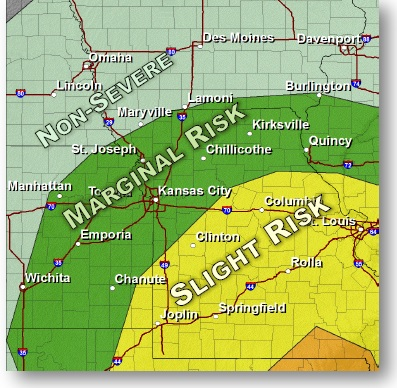 Sunday severe weather outlook (National Weather Service graphic)