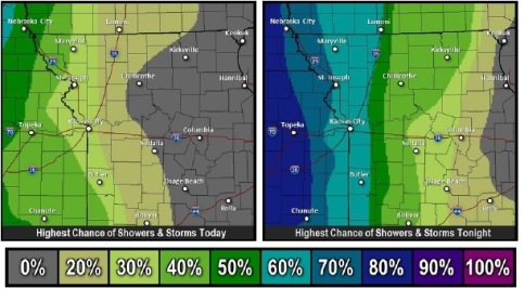 Highest chances of rain and storms today and tonight (National Weather Service graphic)