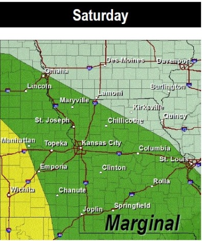 Saturday thunderstorm risk (National Weather Service graphic)