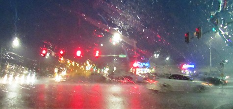 The 78th and State intersection during heavy rains earlier Saturday evening.