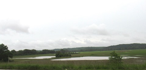 Some water in fields was seen on the Wyandotte County side of the Missouri River near I-435.