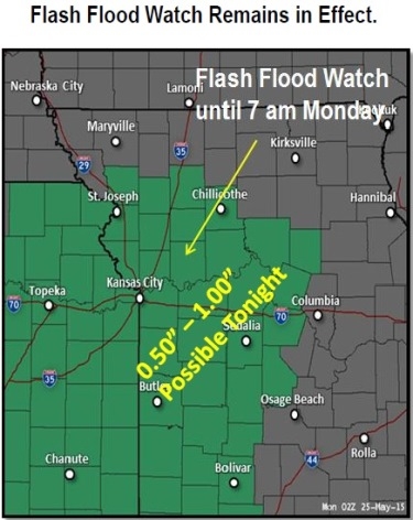 A flash flood watch is in effect in Wyandotte County. (National Weather Service graphic)