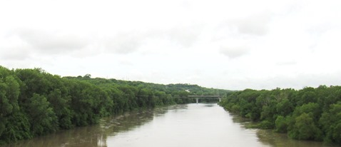The Kansas River, seen here on the south side of Kansas City, Kan., is still under flood stage. Wyandotte County and surrounding areas are under a flood watch.