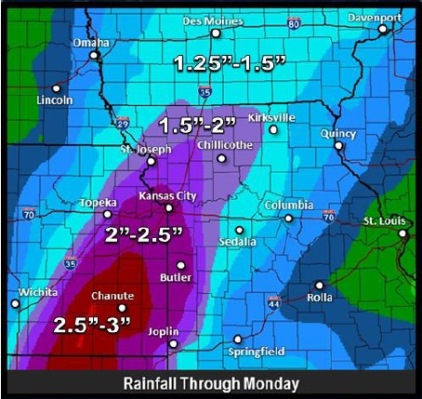 Rainfall predictions through Monday. (National Weather Service graphic)