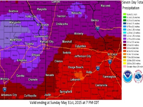 About 1.5 to 2 inches of rain is predicted for the next seven days, with the possibility of 4 inches of rain in some areas. (National Weather Service graphic)