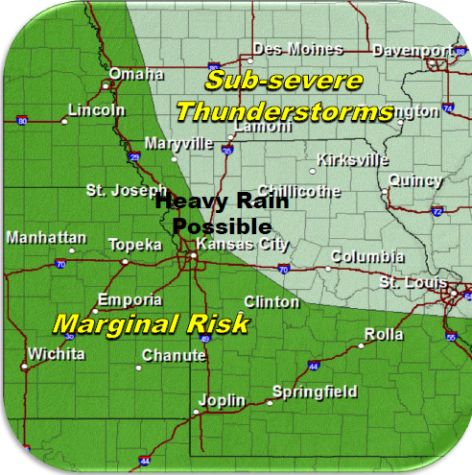 Severe weather potential Sunday to Sunday evening. (National Weather Service graphic)
