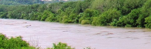 The Kansas River in Kansas City, Kan., seen here on Saturday  from K-32 near 58th Street, is in minor flood stage, according to NOAA charts.