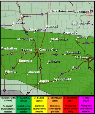 Current weather forecasts show a marginal risk  for storms on Friday in Wyandotte County. (National Weather Service graphic)