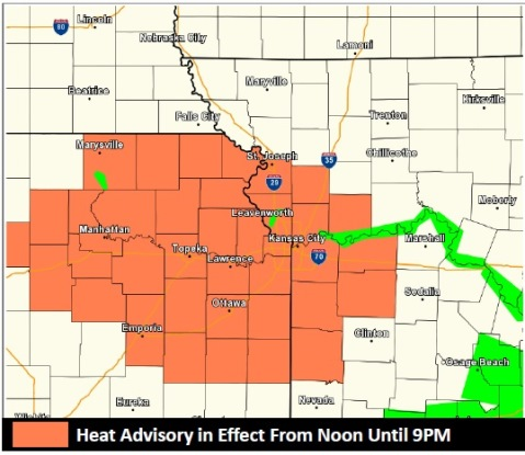 Heat advisory in effect today (National Weather Service graphic)