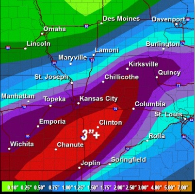 Rainfall forecast through Tuesday morning. (National Weather Service graphic)