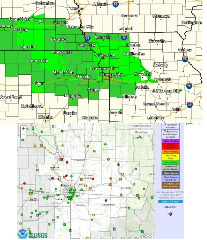 Many area rivers remain in flood stage throughout the region, according to the National Weather Service. In Wyandotte County, the Missouri and Kansas rivers are still under flood stage. (National Weather Service graphic)