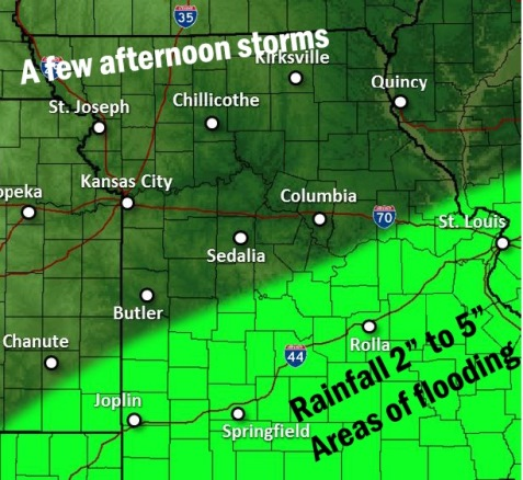 Rain today. (National Weather Service forecast)