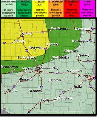 Saturday's forecast does not show any severe storms in Wyandotte County; however, this area is next to an area of marginal risk on Saturday. (National Weather Service graphic)