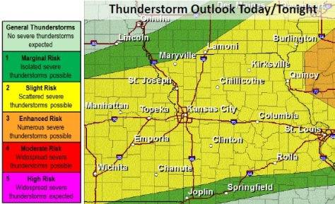 Thunderstorm outlook Sunday. (National Weather Service graphic)