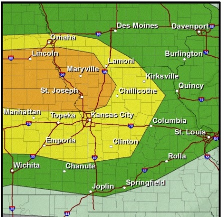Storm risk today. (National Weather Service graphic)