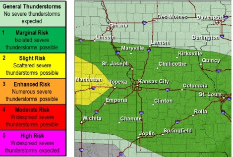 Wyandotte County was in a marginal risk area for severe weather, according to a chart from the National Weather Service. (National Weather Service graphic)