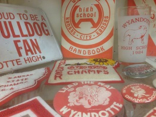 Old Wyandotte High School memorabilia. Craig Delich, a former student and teacher at Wyandotte High School, has written a new history of the school that will be published in November. (Photo by Rebecca Tombaugh, Copyright 2015 by Rebecca Tombaugh)
