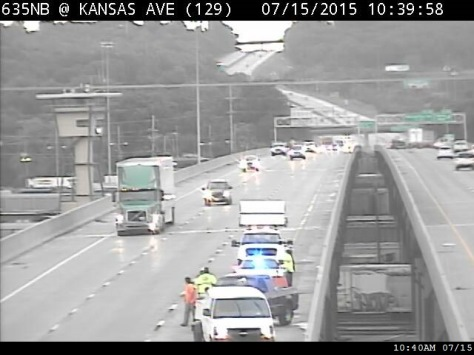An accident was reported at I-635 and Kansas Avenue, in the northbound lanes, about 10:10 a.m.  on Wednesday, according to KC Scout. The left lane was closed. (KC Scout photo)