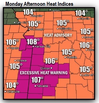 Monday afternoon heat indices (National Weather Service graphic)