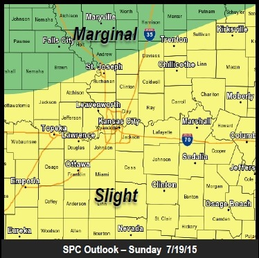 Storm outlook for Sunday. (National Weather Service graphic)